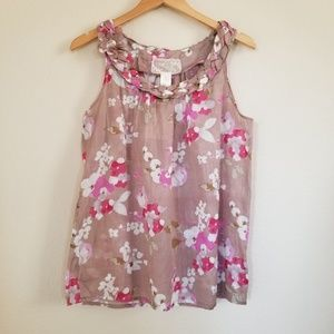 NWT Nick & Mo Sleeveless Floral Blouse Top Large